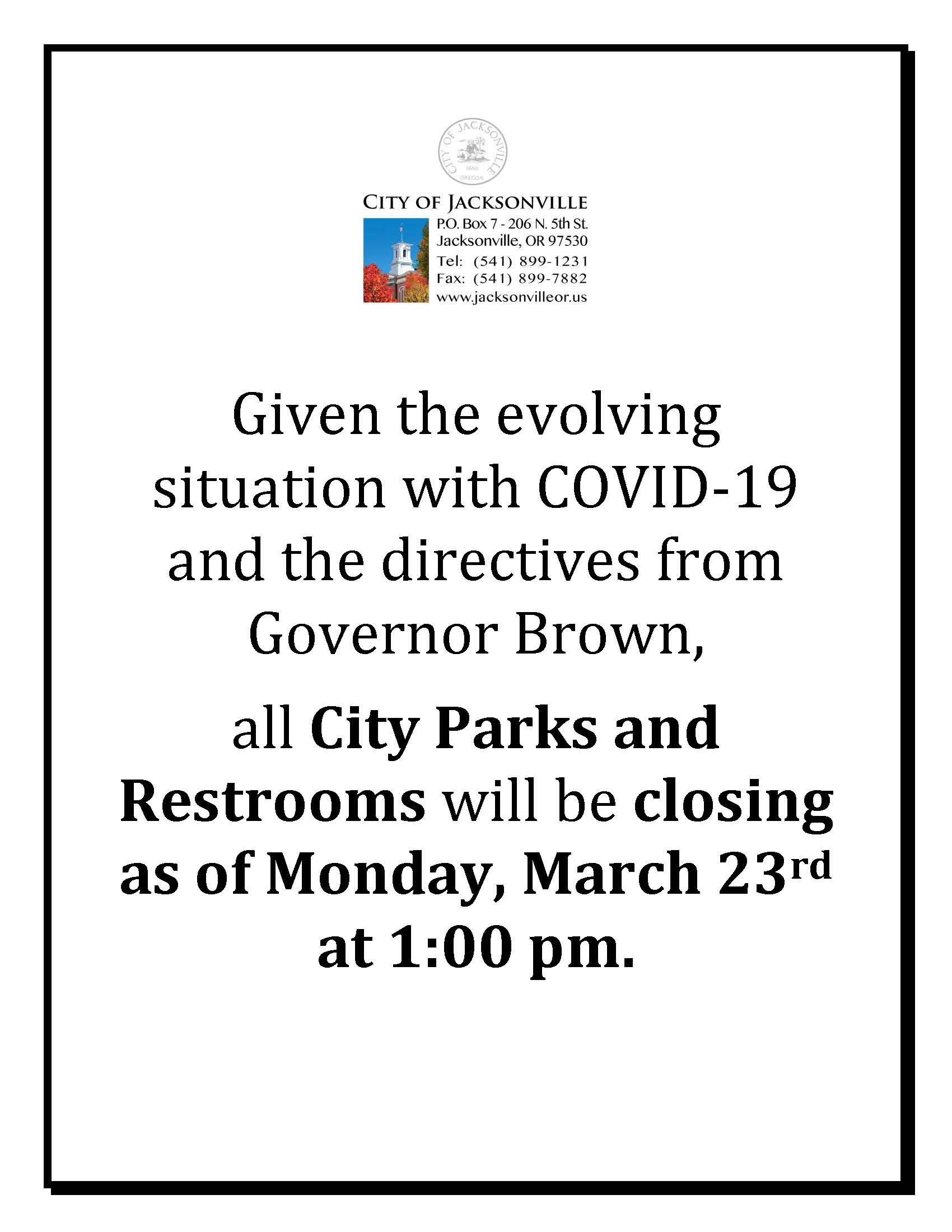 sign for parks and restrooms closure effective 03.23.2020